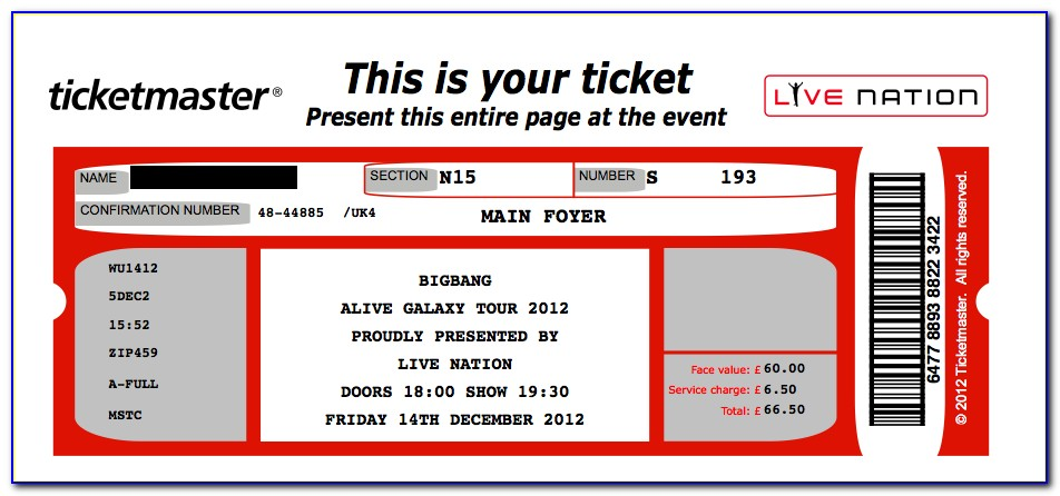 Concert Ticket Template Free Word