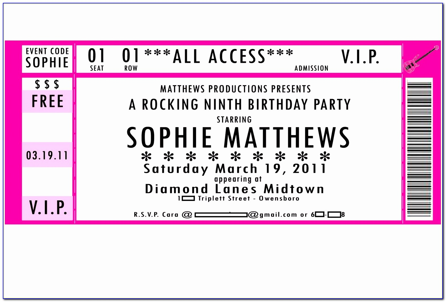 Vip Ticket Template Free Printable Concert Ticket Invitation Template Free New Doc Xls Letter Template Airut