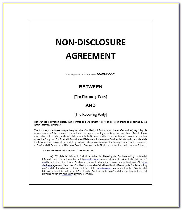 Confidentiality Agreement Template Employee