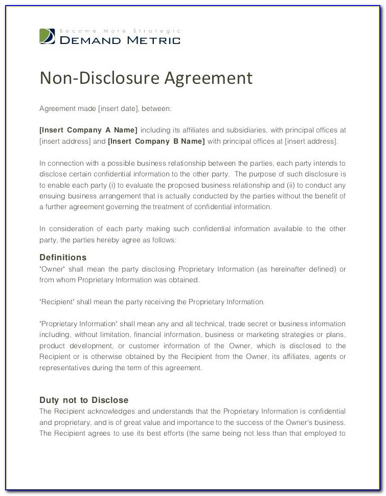 Confidentiality And Nondisclosure Agreement Template