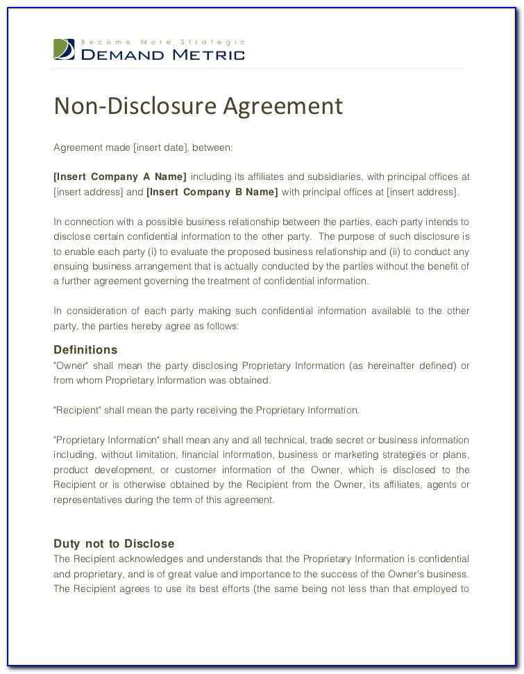 Confidentiality Disclosure Agreement Template