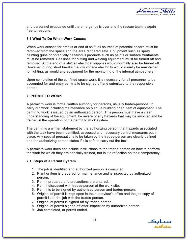 Confined Space Entry Permit Template Qld