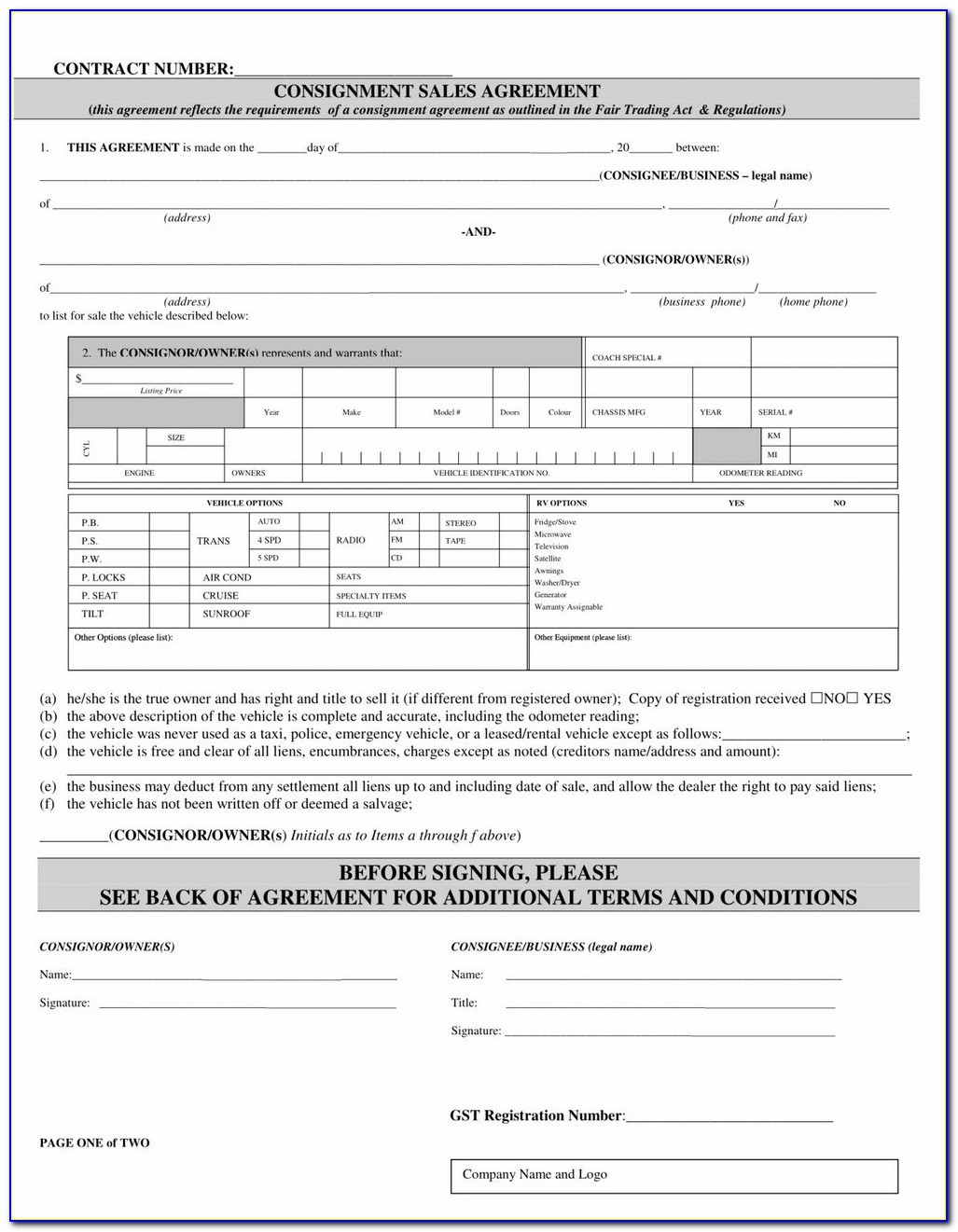 Consignment Stock Agreement Template Uk