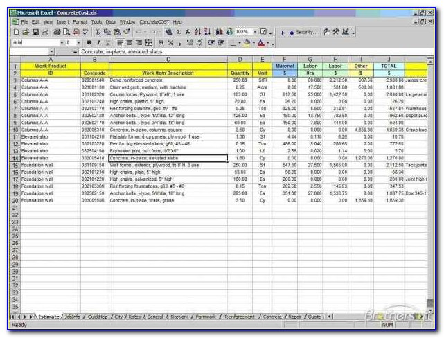 Free Contractor Estimate Template Excel Construction Cost Uk Invoice & Free Construction Cost Estimate Excel Template