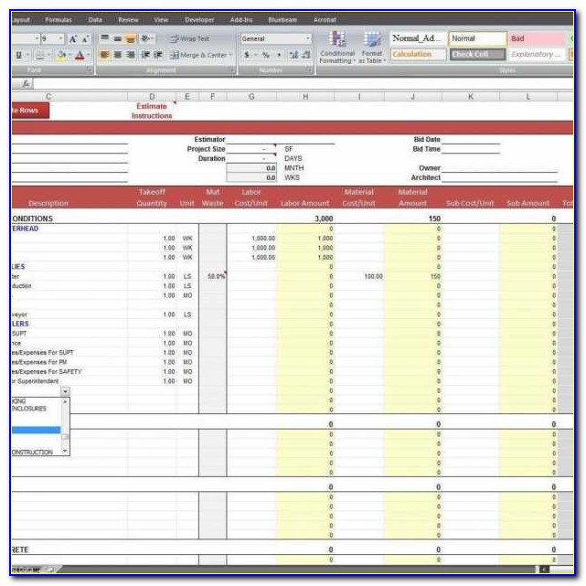 Construction Estimate Spreadsheet Template Free And Free & Free Construction Cost Estimate Excel Template