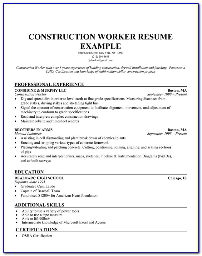 Construction Cv Template Word