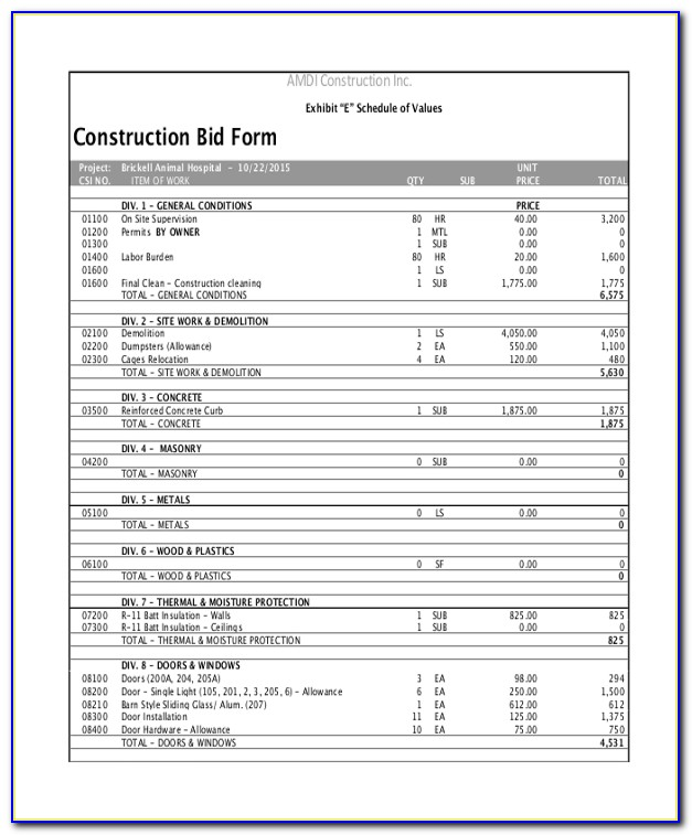 Construction Estimate Quote Template