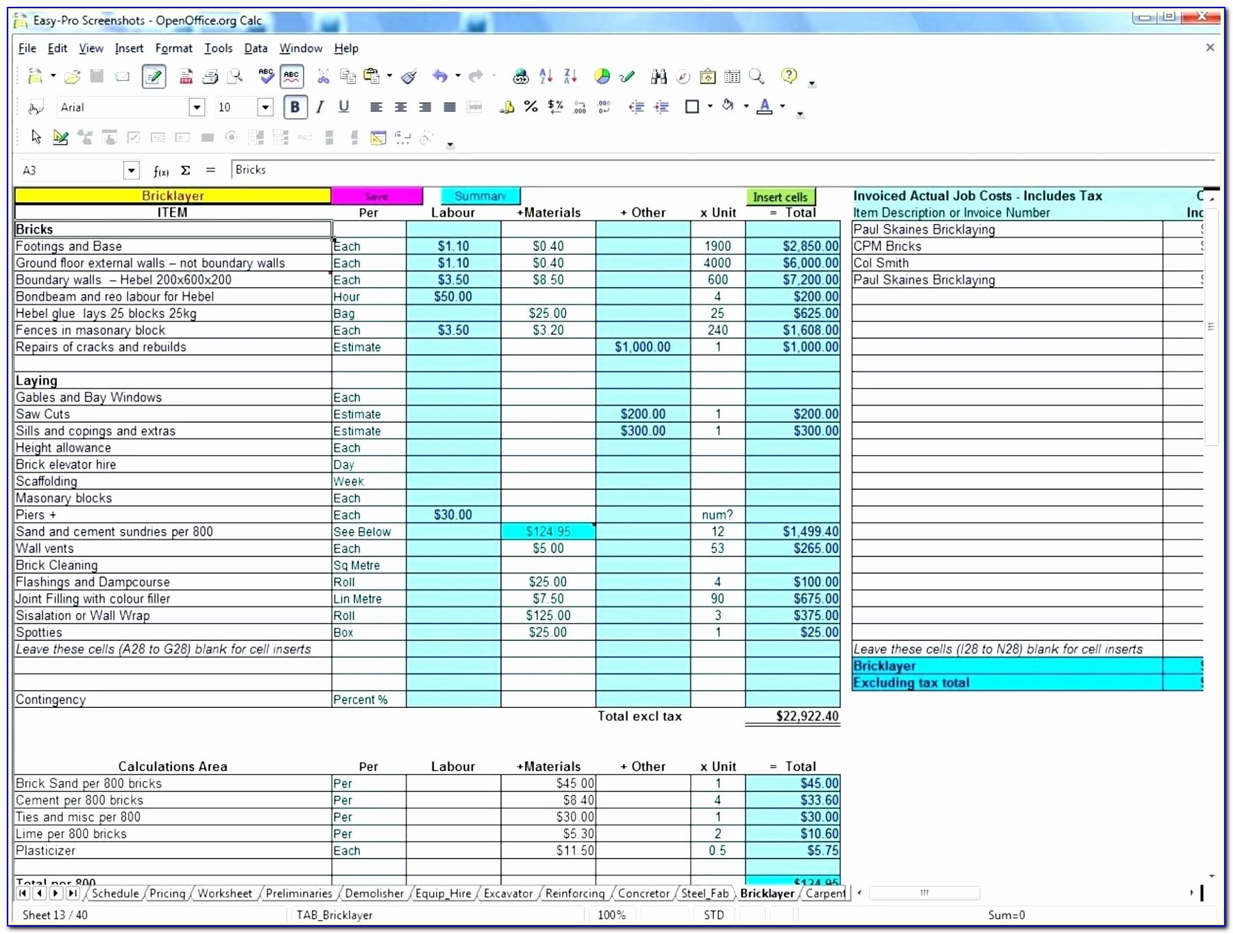 Construction Excel Templates Free