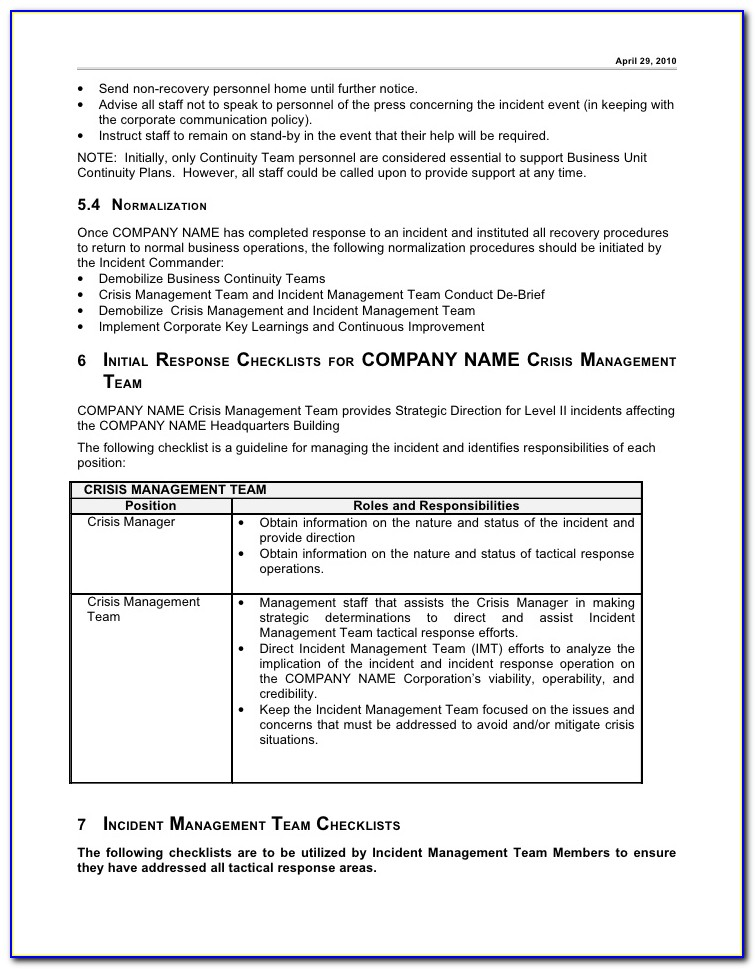 Construction Incident Management Plan Template