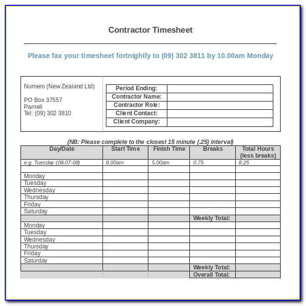 Construction Industry Timesheet Template