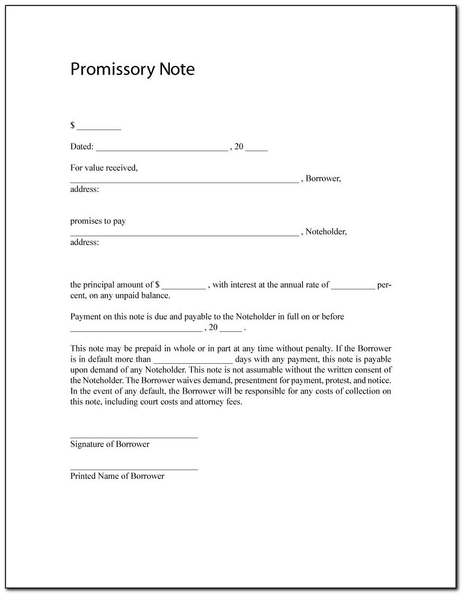 Construction Loan Promissory Note Form