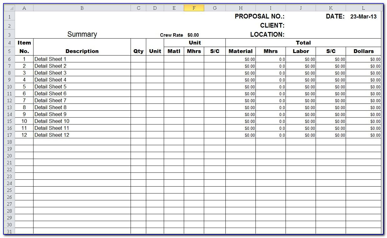 Construction Scheduling Excel Templates