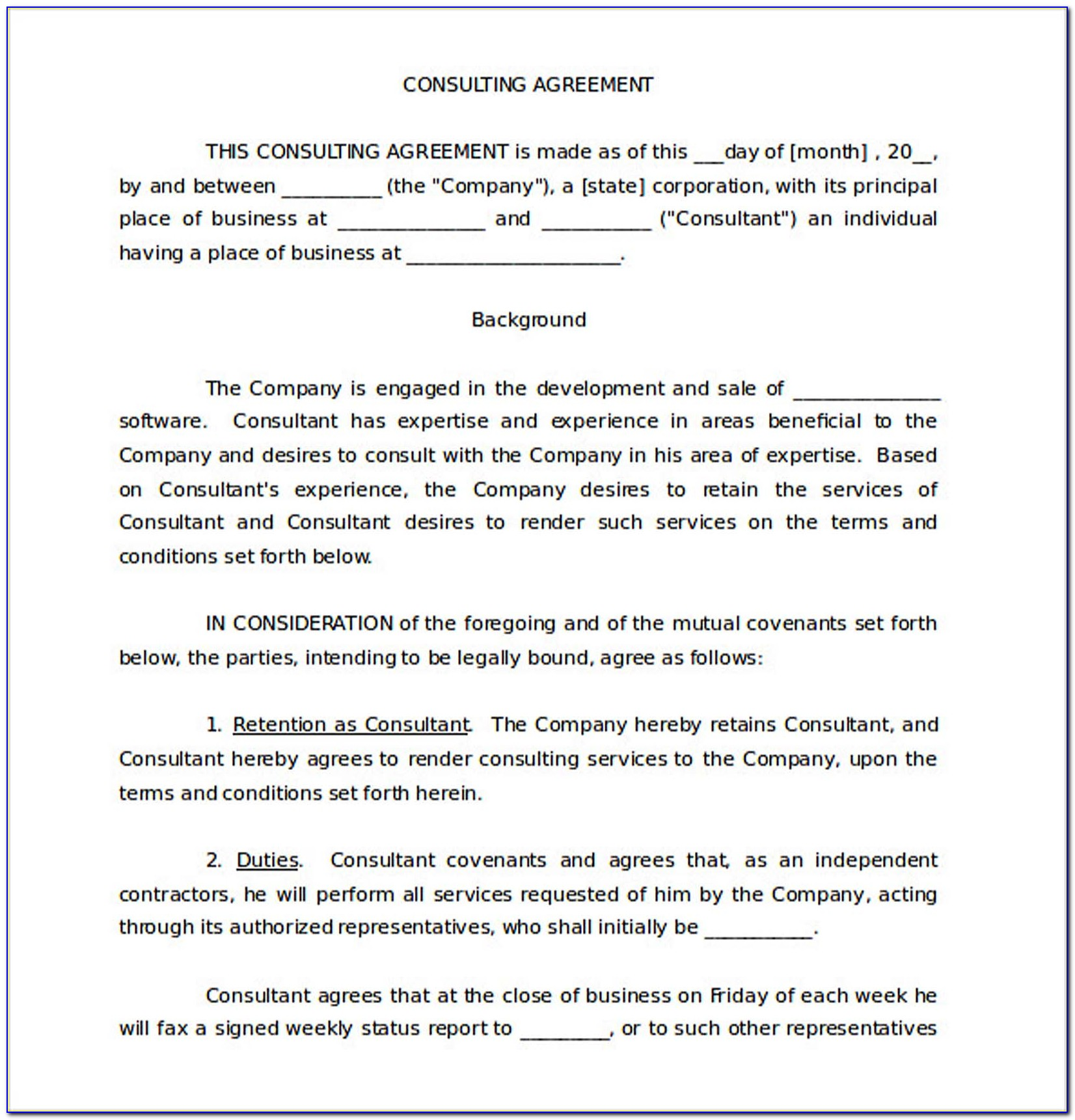 Consultancy Agreement Template Singapore