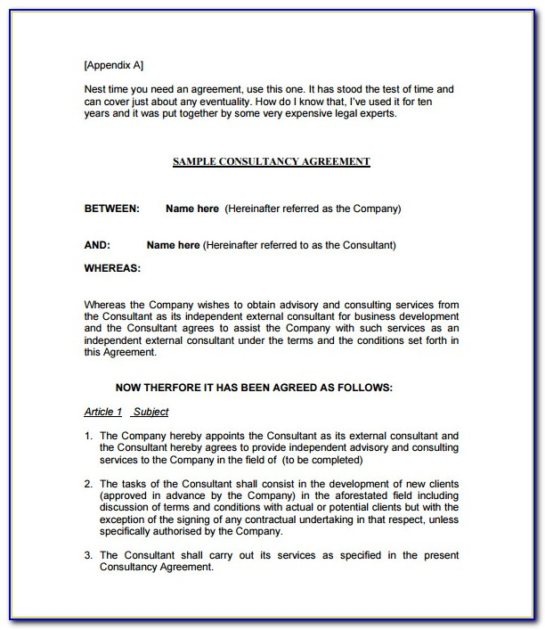 Consulting Contract Template Word