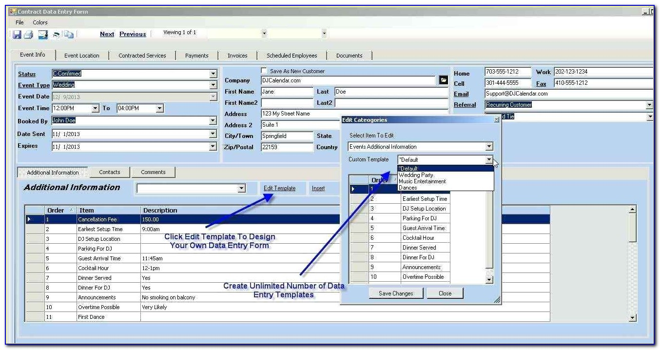 Contract Management Database Template Access 2007