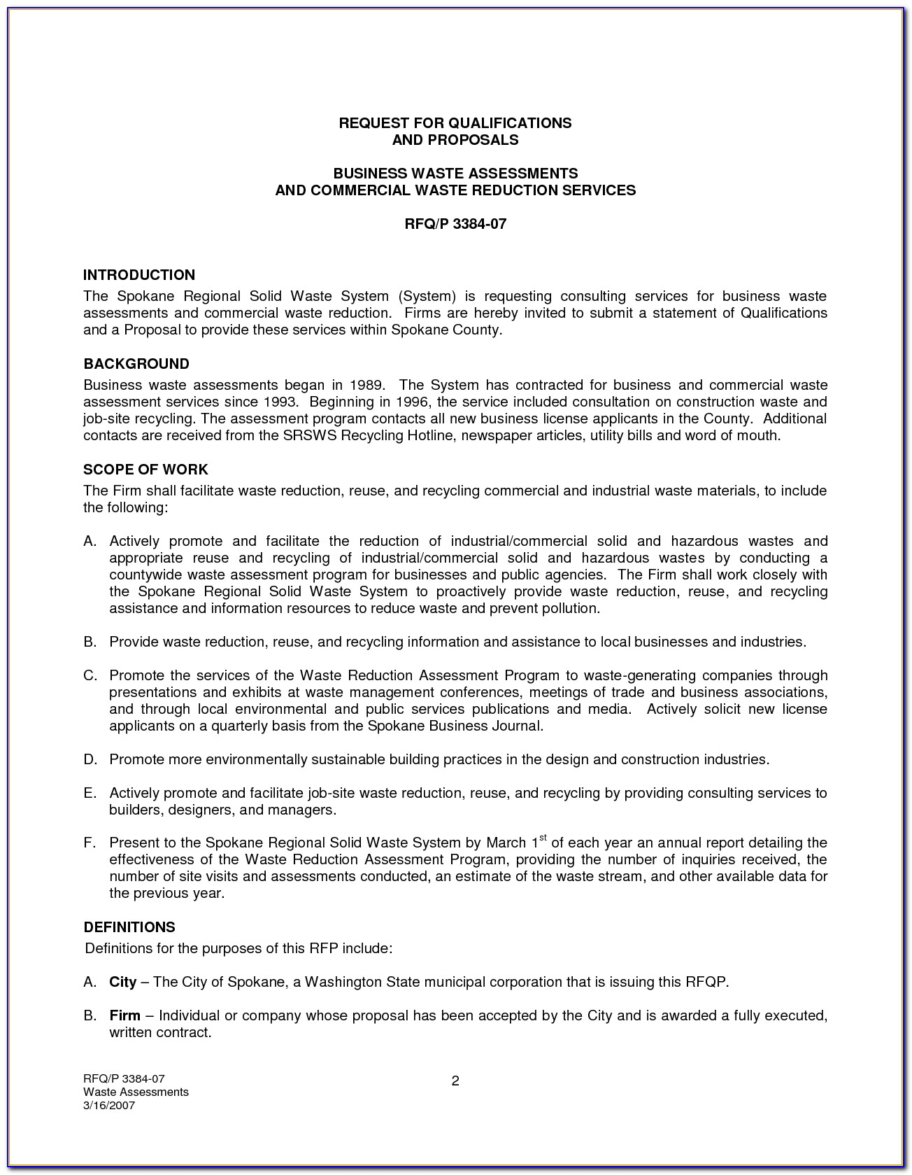 Contract Proposal For Services Template Free