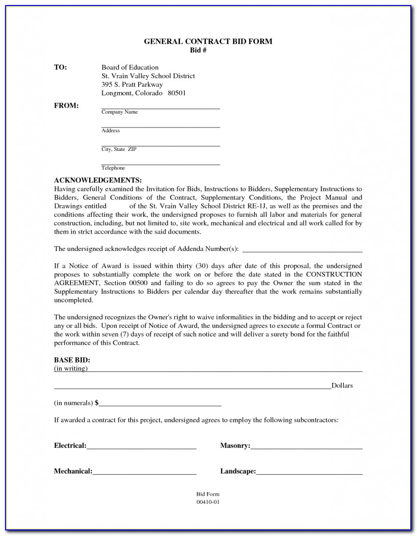 Contract Template For Building Contractors