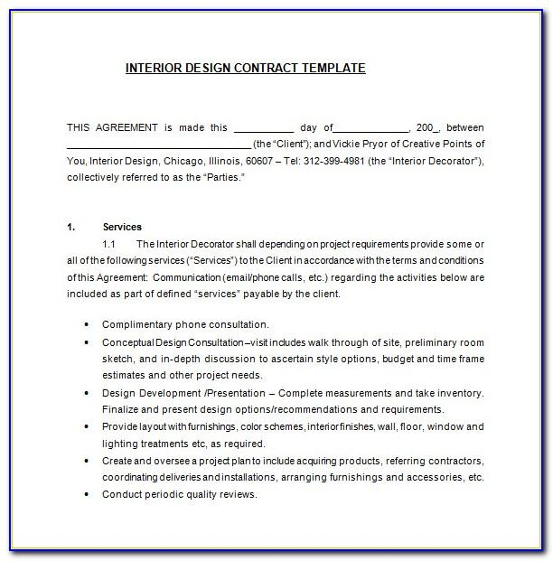 Contract Template For Interior Design Services