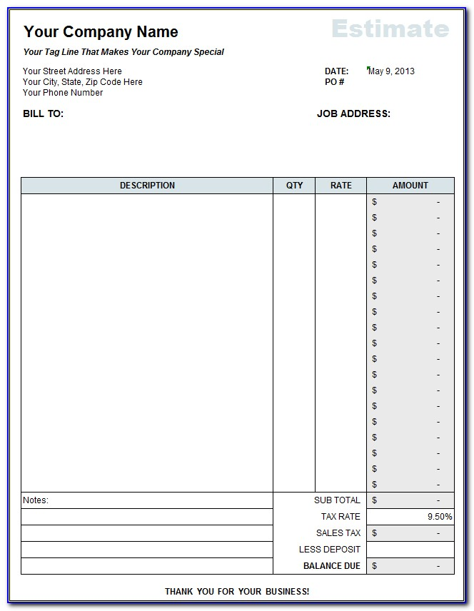 Contractor Estimate Form Free Download