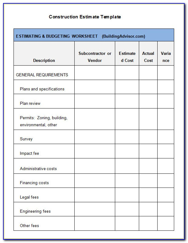 Contractor Estimate Template Word