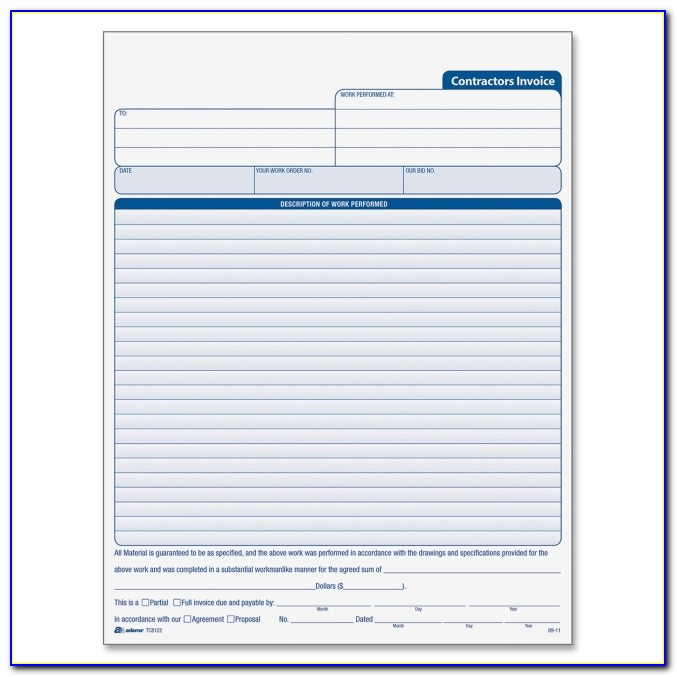Contractor Invoice Format In Word