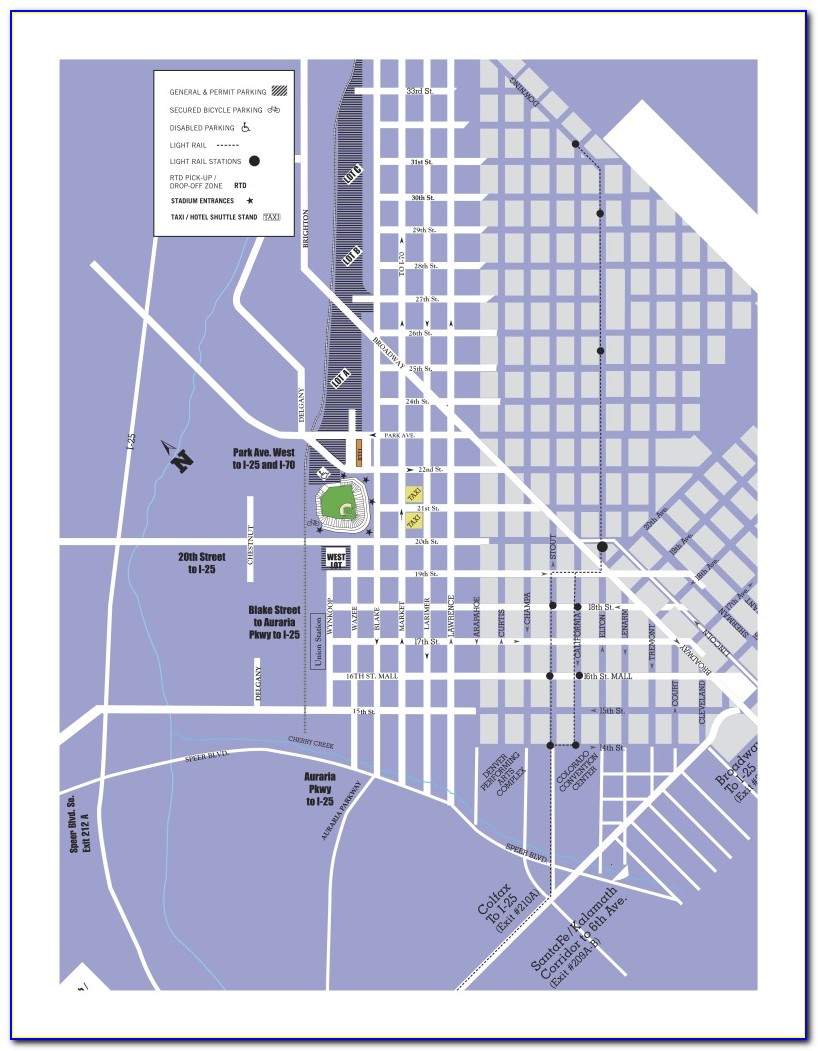 Coors Field Handicap Parking Map
