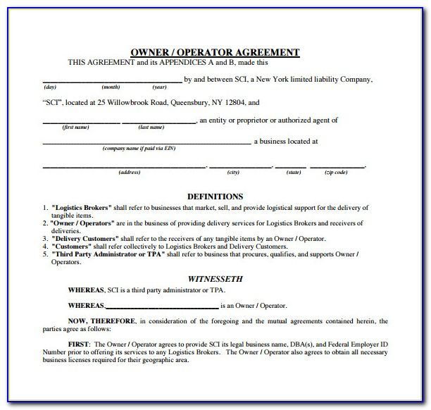 Copy Of Owner Operator Lease Agreement Template