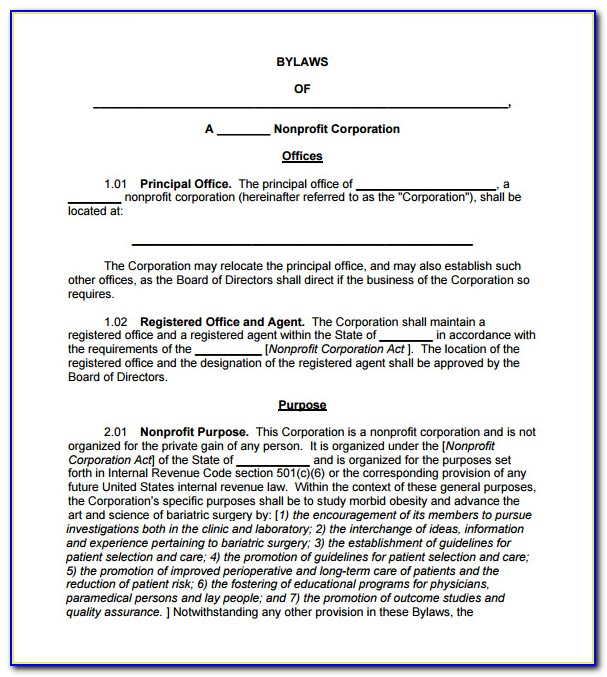 Corporate Bylaws Template Canada