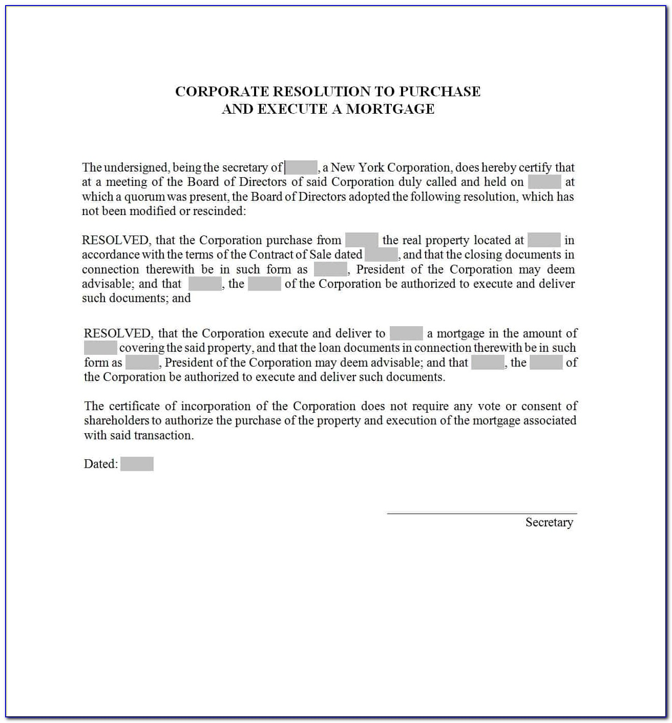 Corporate Resolution Template For Banking