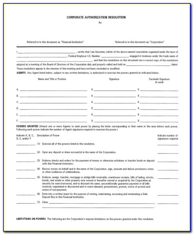 Corporate Resolution Template To Open Bank Account