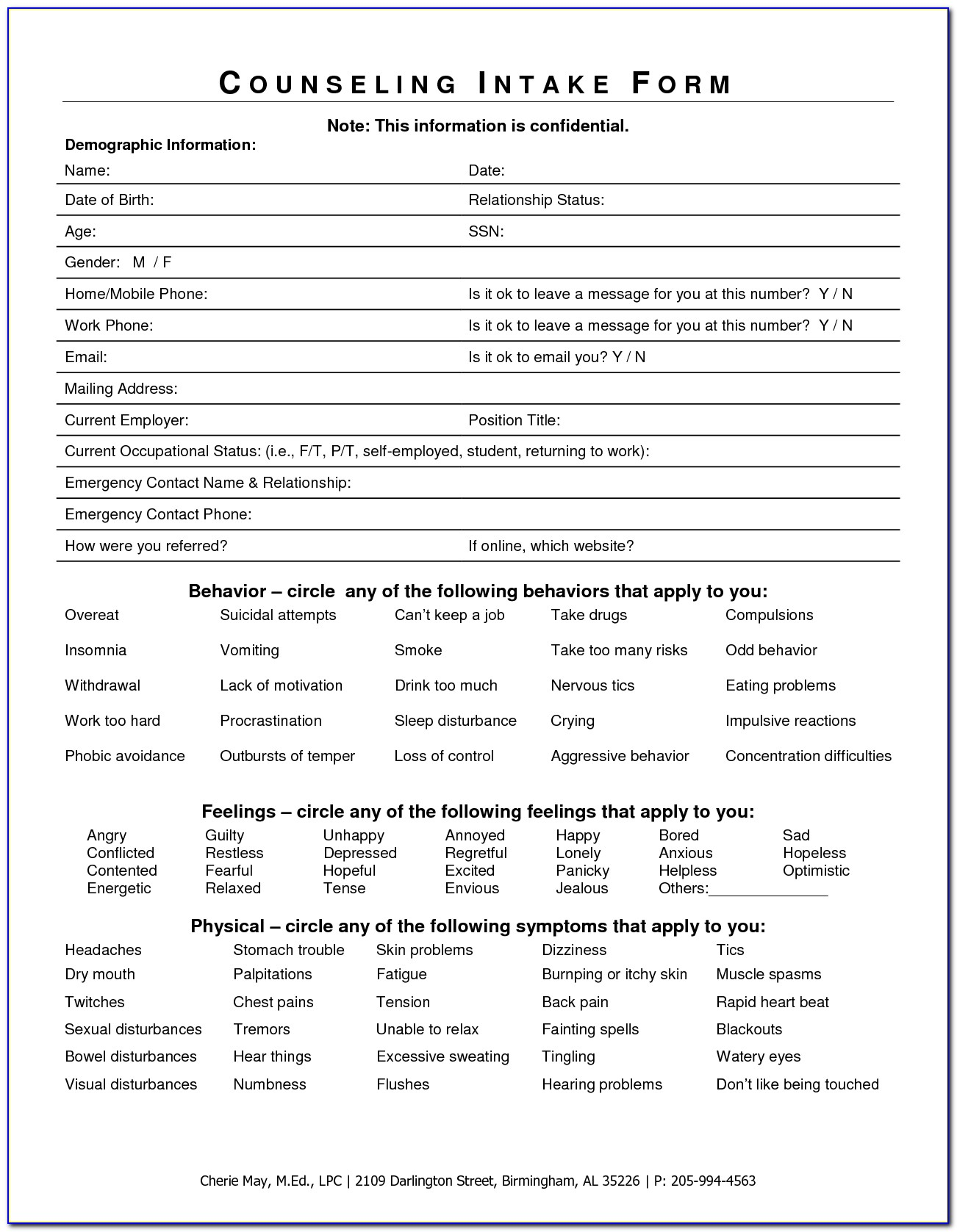 Counseling Intake Forms Templates