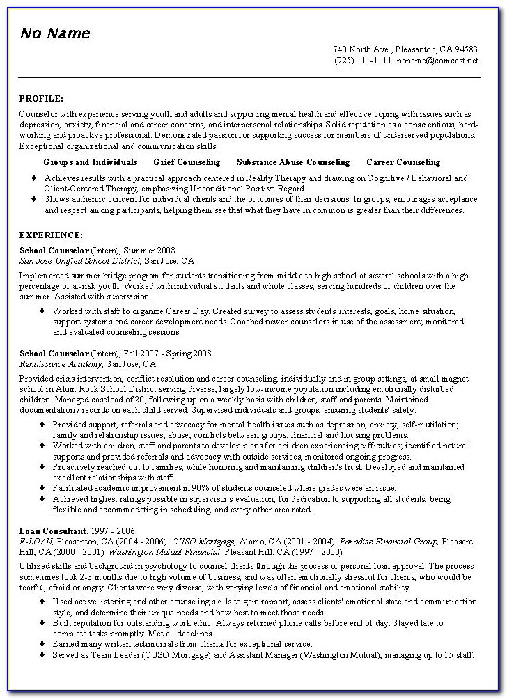 Counselor Resume Template