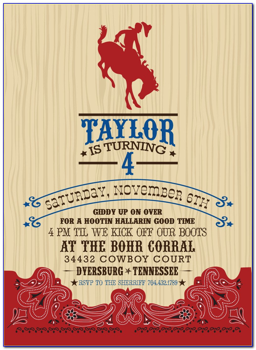 Cowboy Party Invitation Template