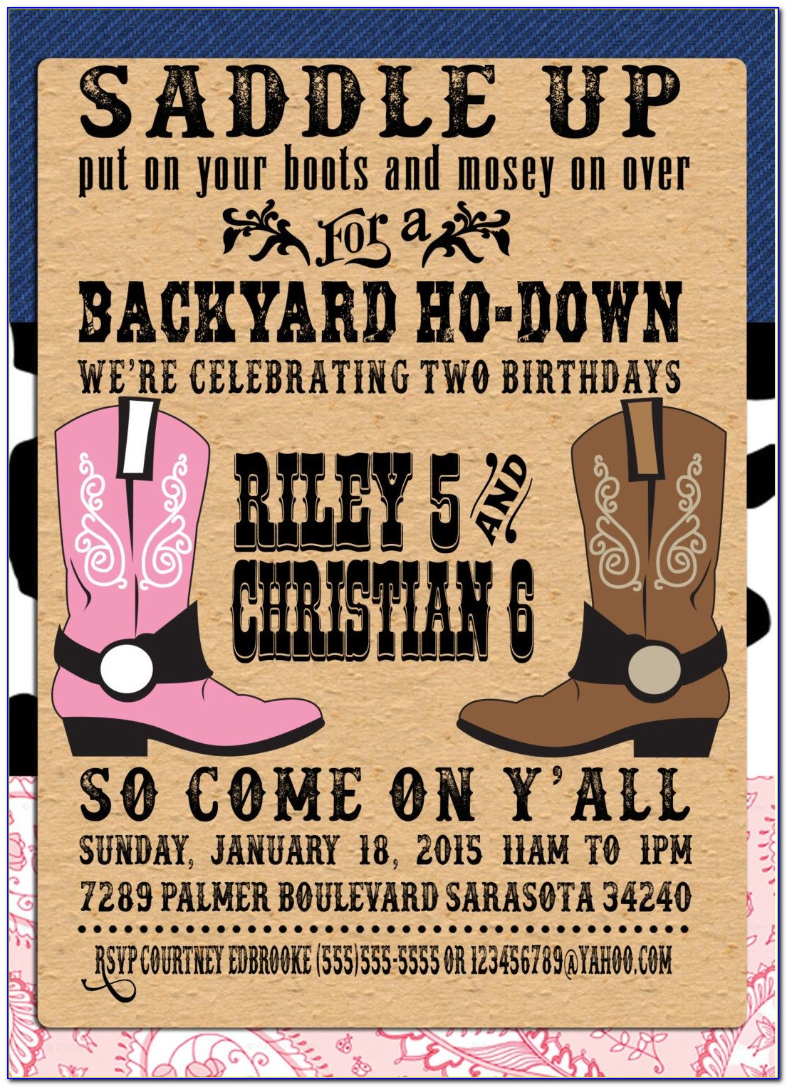 Cowgirl Party Invitation Templates Free