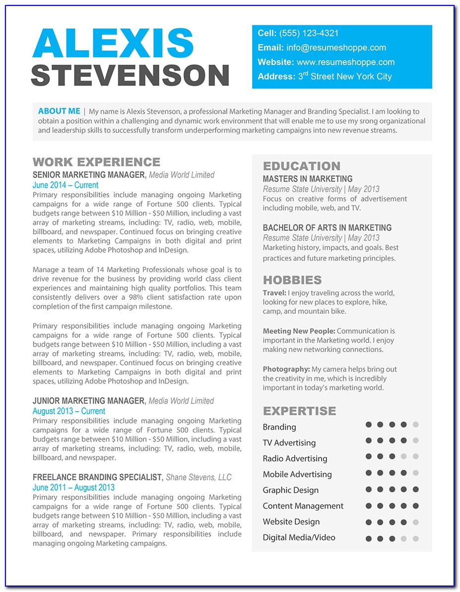 Creative Resume Template Word Free