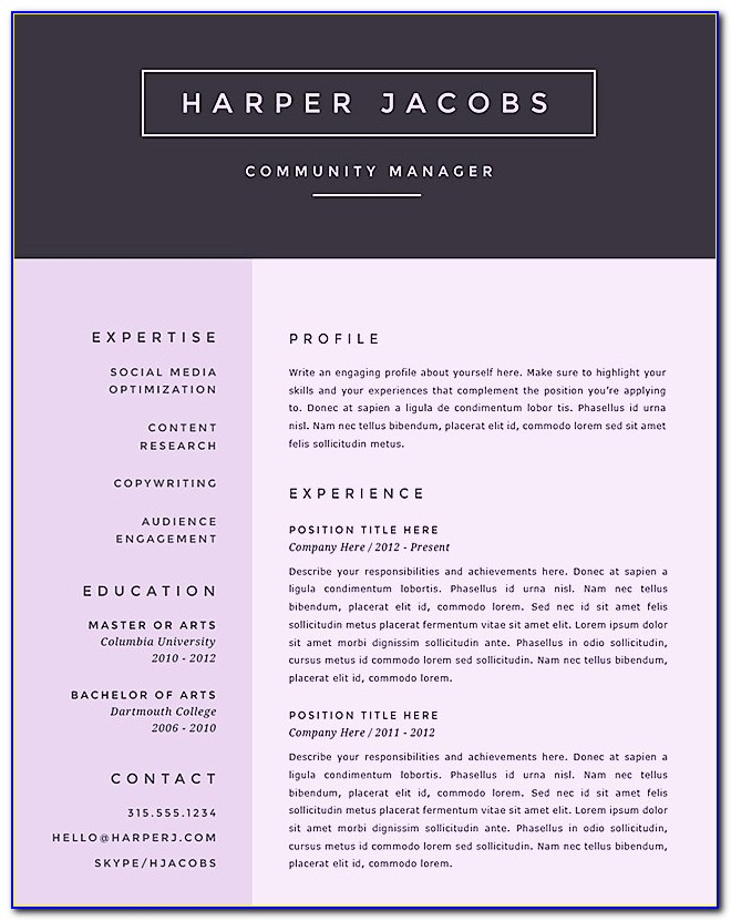 Creative Resume Templates Ms Word Free