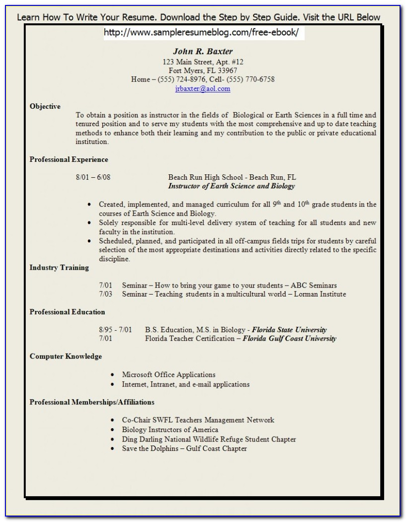 Creative Teacher Resume Templates Free