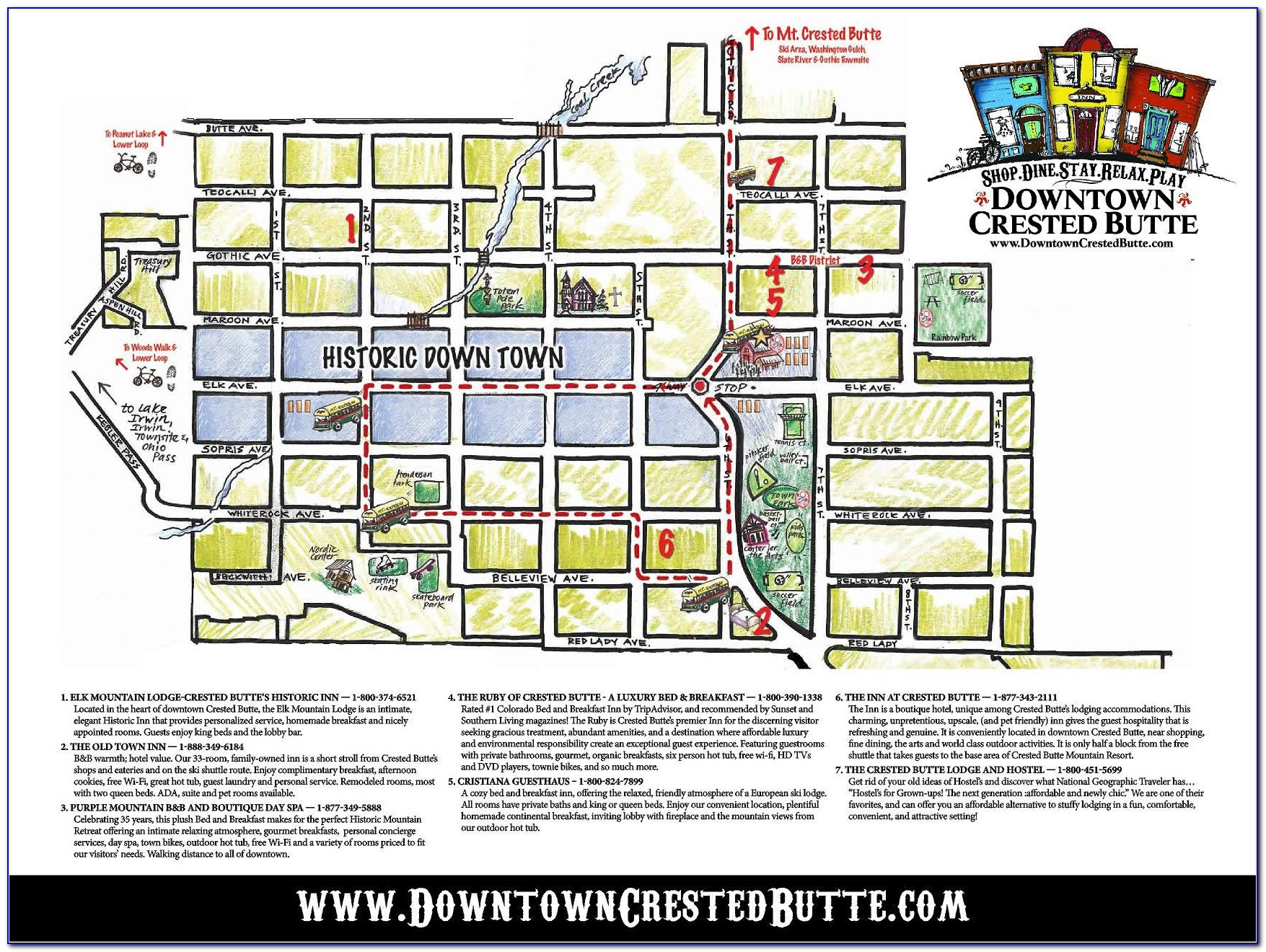 Crested Butte Lodging Map