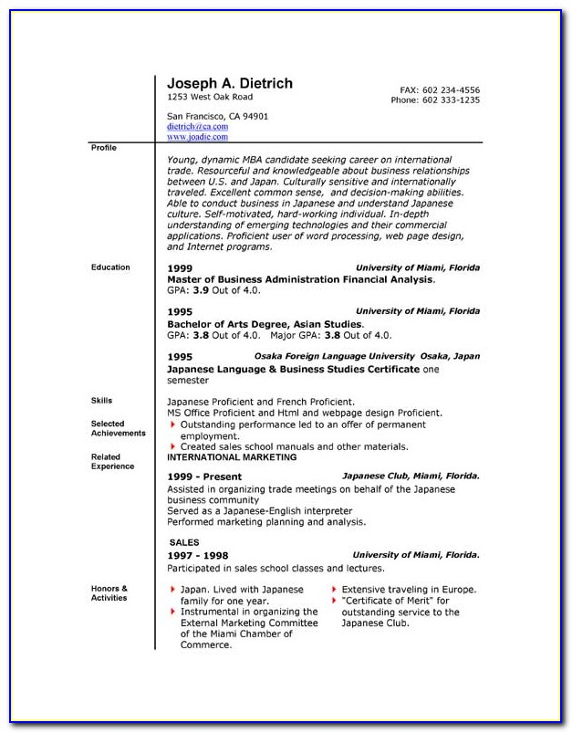 Curriculum Vitae Format Word File Free Download
