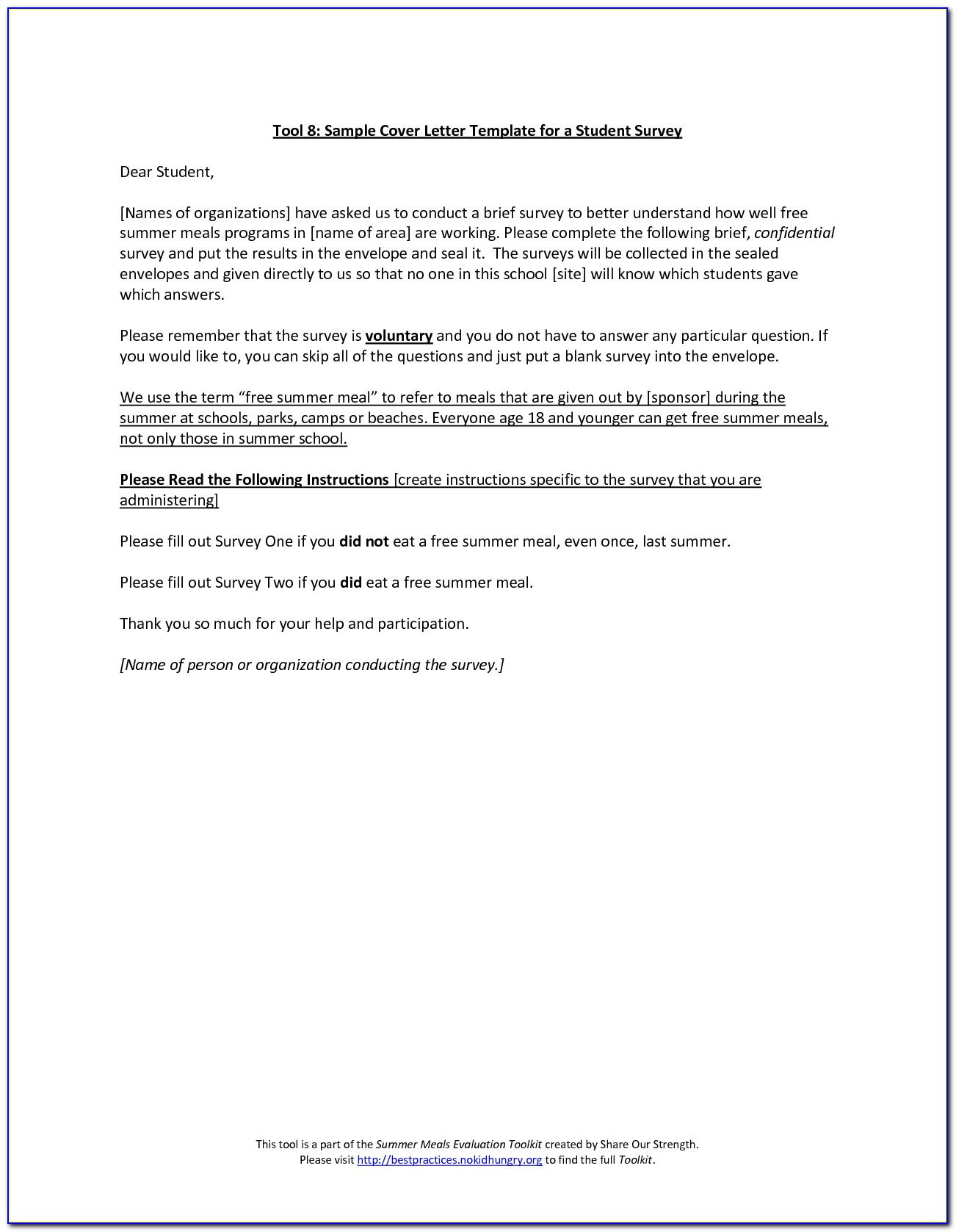 Customer Satisfaction Survey Cover Letter Template