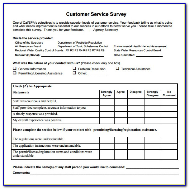 Customer Service Survey Templates Free