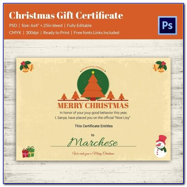 Customizable Christmas Gift Certificate Template