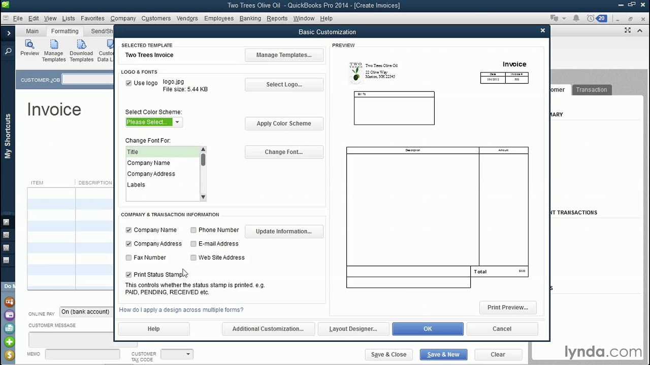 Customize Quickbooks Online Estimate Templates