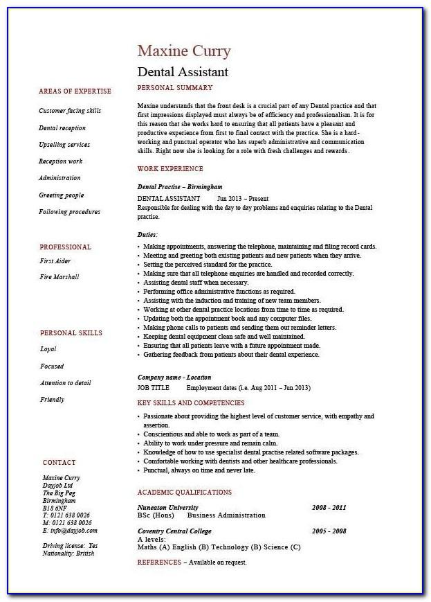 Cv Template For Dental Assistant