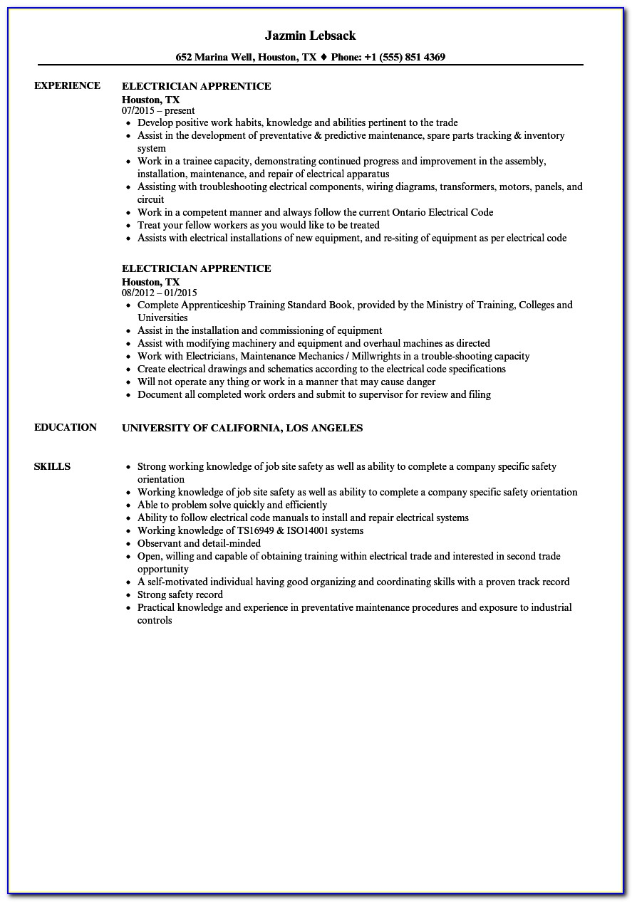Cv Template For Electrician Uk