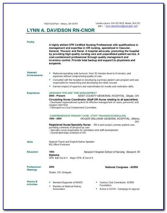Cv Template For Nurses