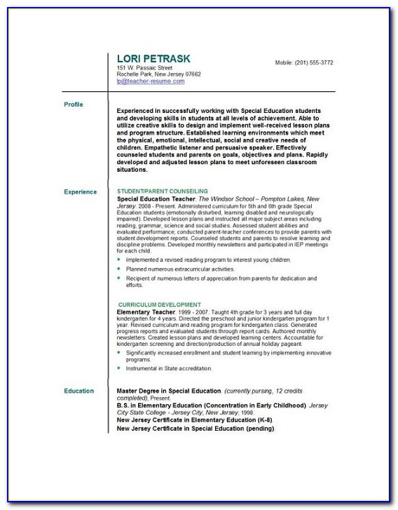 Cv Template For Teachers Free Download