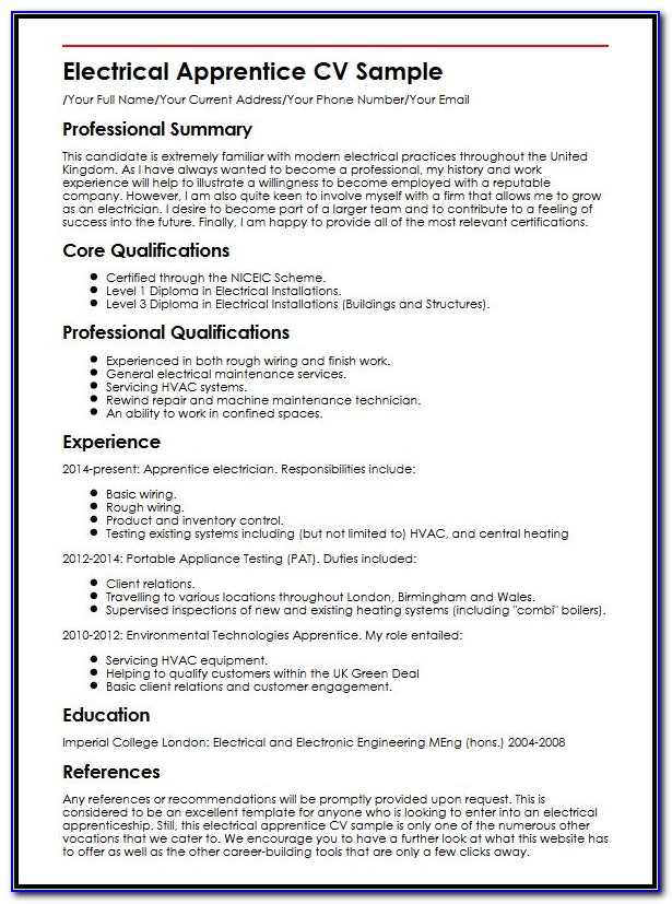 Cv Template Word For Electrician