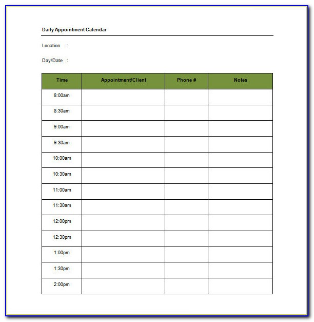 Daily Appointment Schedule Template Excel