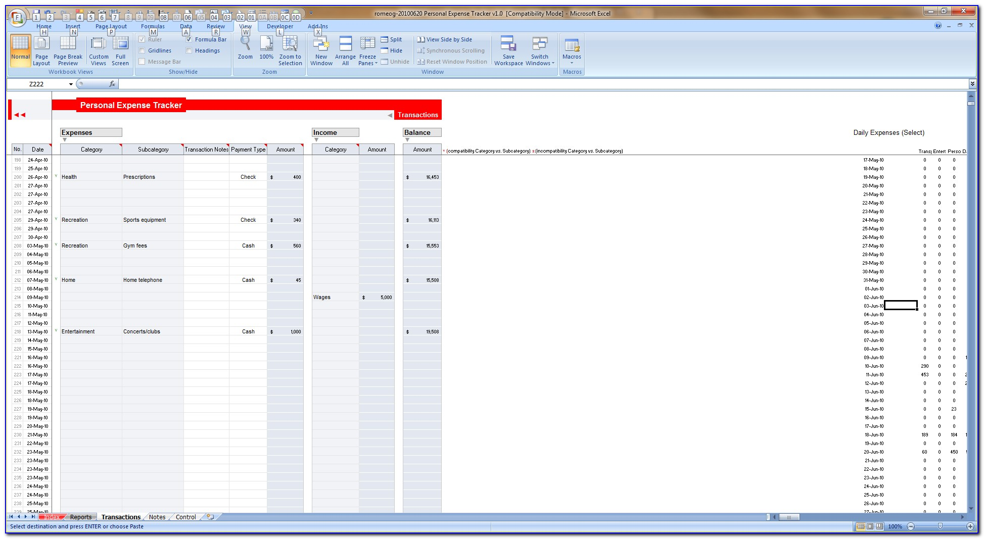 Daily Expense Spreadsheet Template